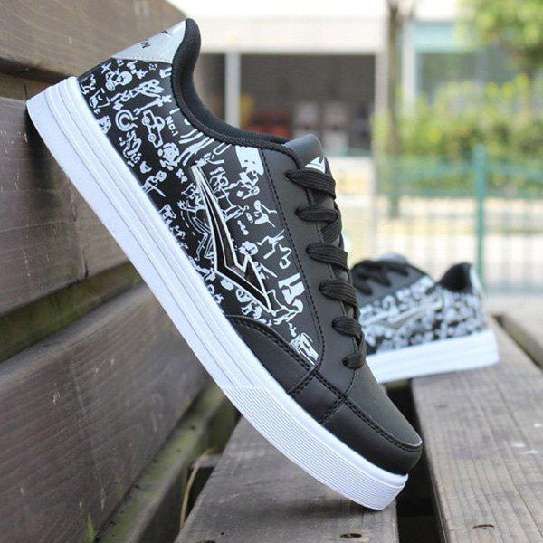 Trendy Lace-Up and PU Leather Design Men's Athletic Shoes - BLACK 44