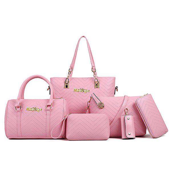 Fashionable Embossing and Metal Design Women's Shoulder Bag - PINK