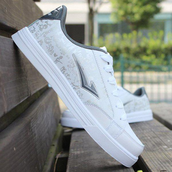 Trendy Lace-Up and PU Leather Design Men's Athletic Shoes trendy colour matching and lace up design women s athletic shoes