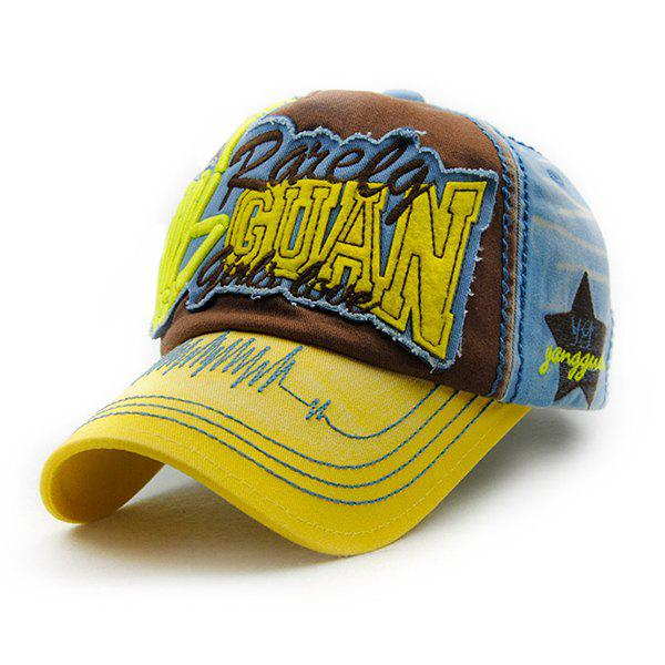 Stylish Letter Shape and Embroidery Decorated Summer Unisex Baseball Hat - YELLOW