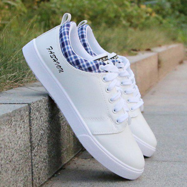 Trendy Letter and Lace-Up Design Men's Athletic Shoes - WHITE 40
