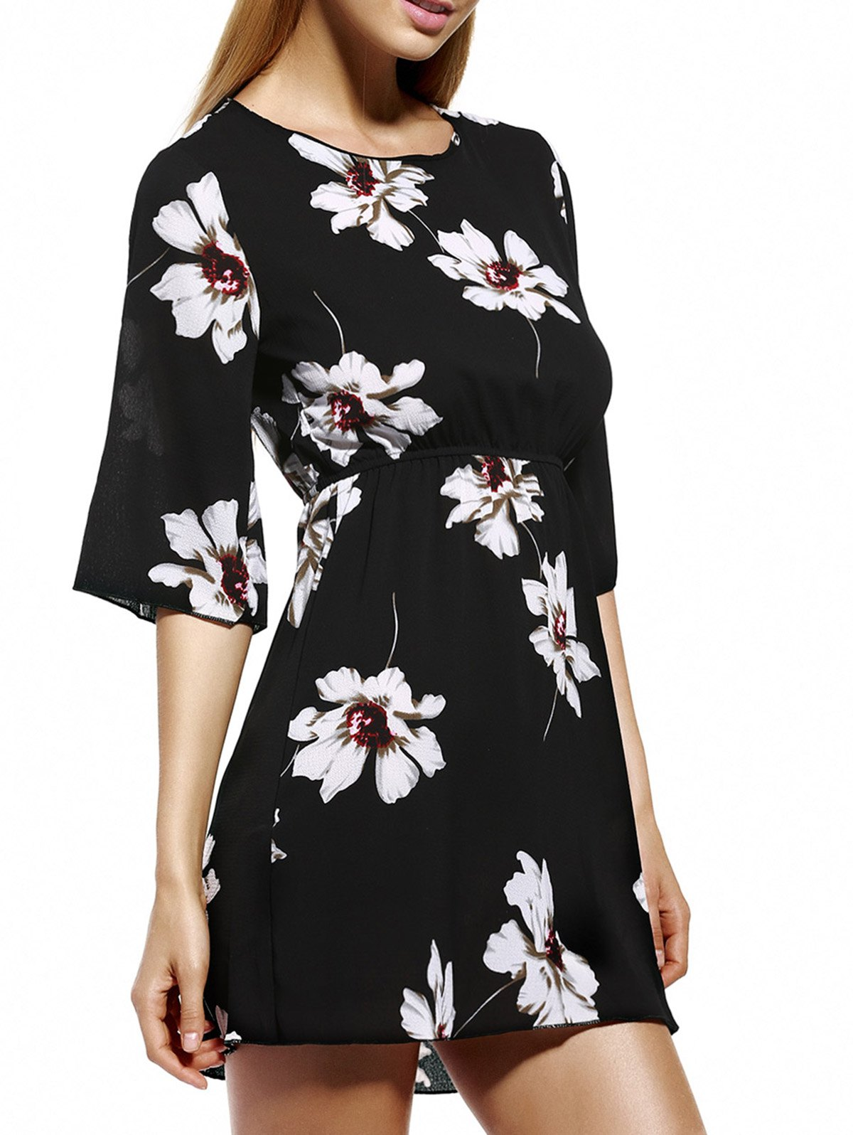 Ladylike Elastic Waist Floral Women's Print Dress - BLACK 2XL