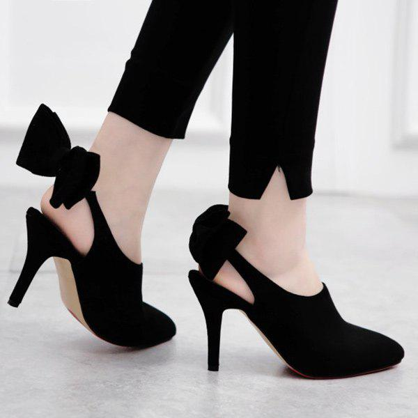 Elegant Suede and Bow Design Women's Pumps - BLACK 39