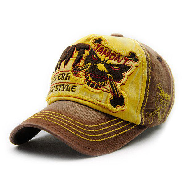 Gothic Style Skull Embroidery Decorated Do Old Men's Summer Baseball Hat - YELLOW