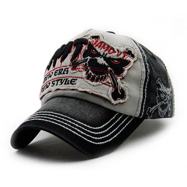 Gothic Style Skull Embroidery Decorated Do Old Men's Summer Baseball Hat - GRAY