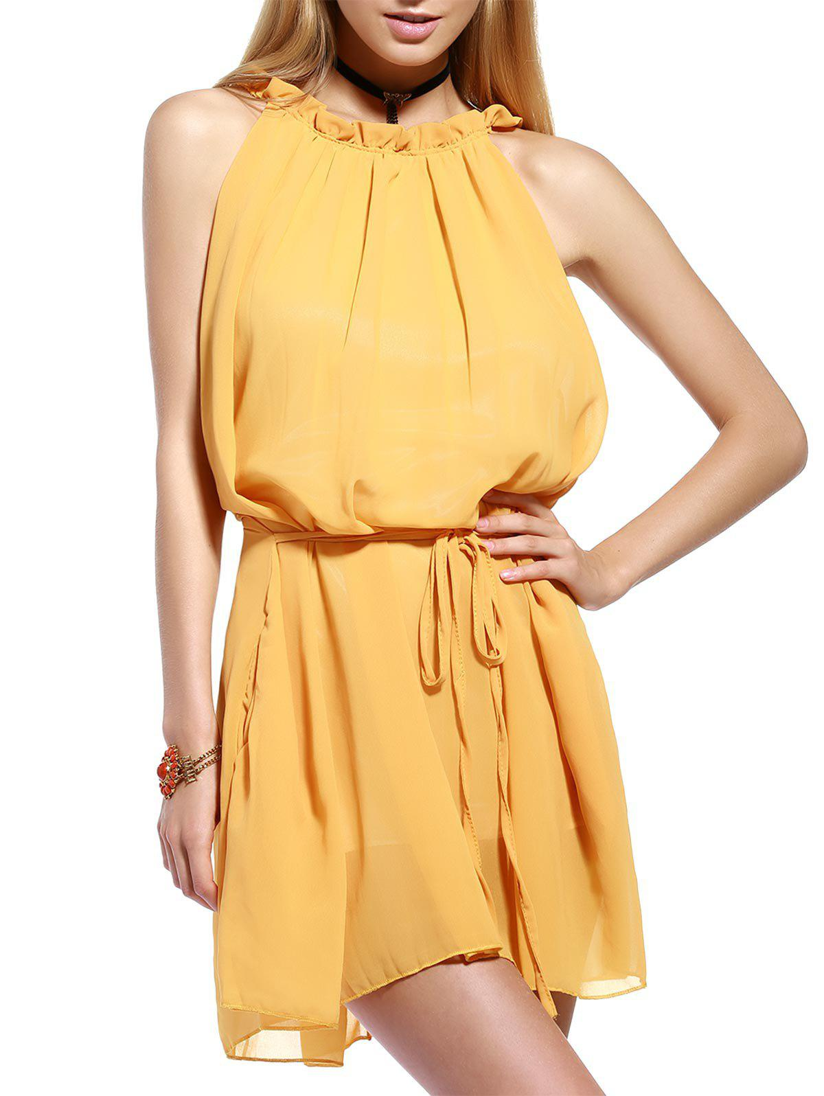 Chic Frill Collar Sleeveless Pleated Women's Dress - YELLOW S
