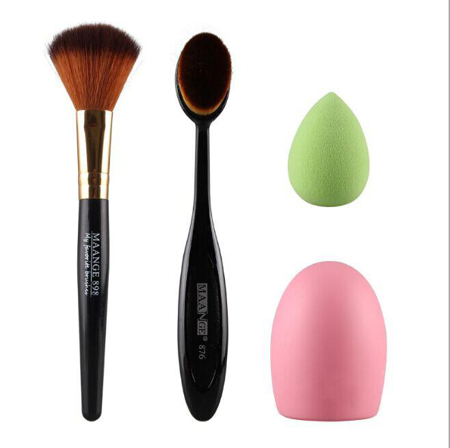 Cosmetic 4 Pcs/Set Blush Brush + Powder Brush + Powder Puff + Brush Egg