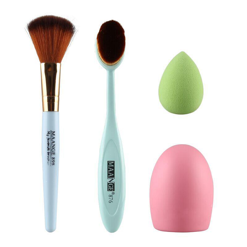 Cosmetic 4 Pieces / Set Blush Brush + Pinceau Poudre + Powder Puff + Brushegg - GREEN
