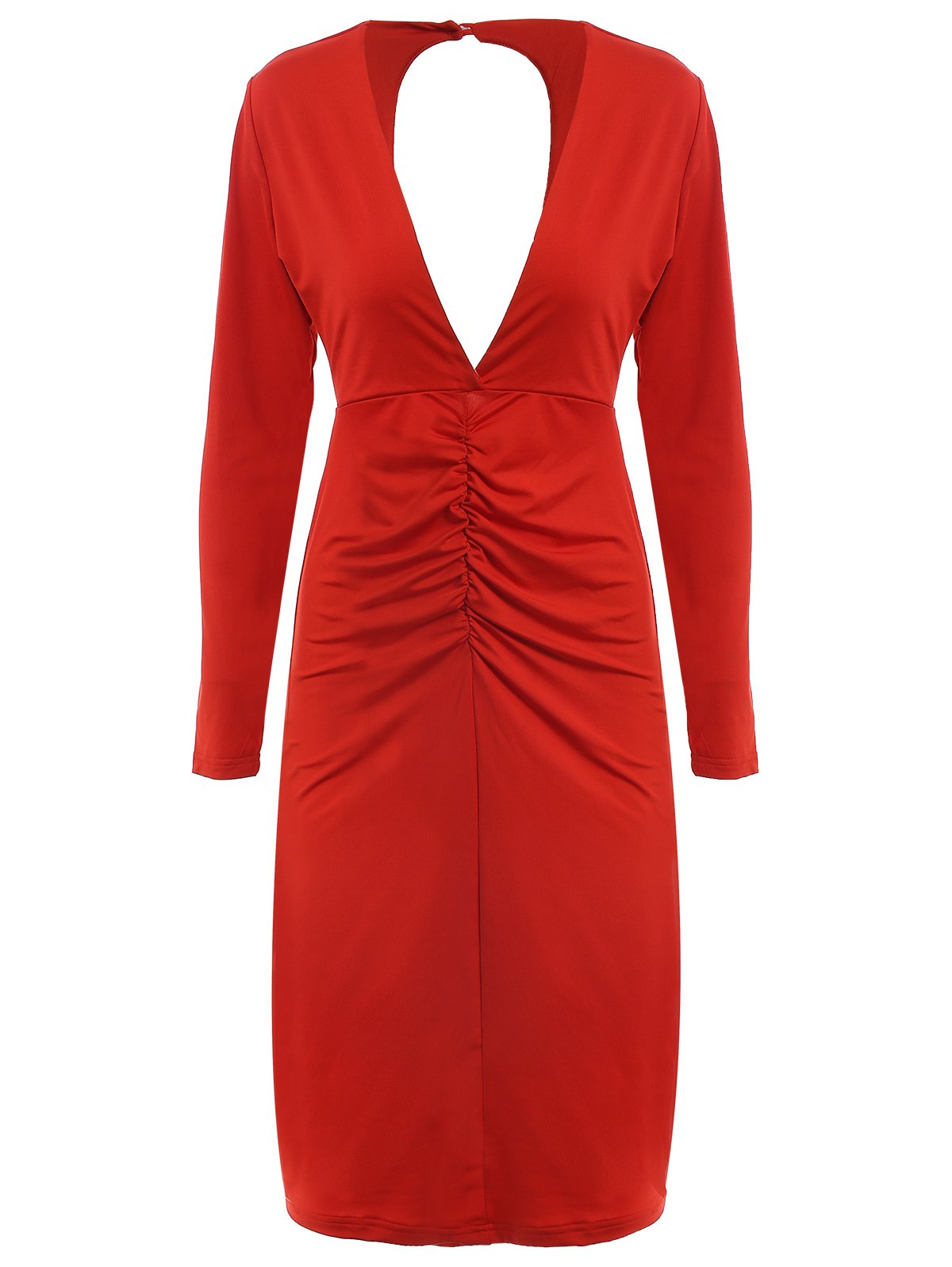 Long Sleeve Plunging Neck Cut Out Pure Color Dress For Women - RED S