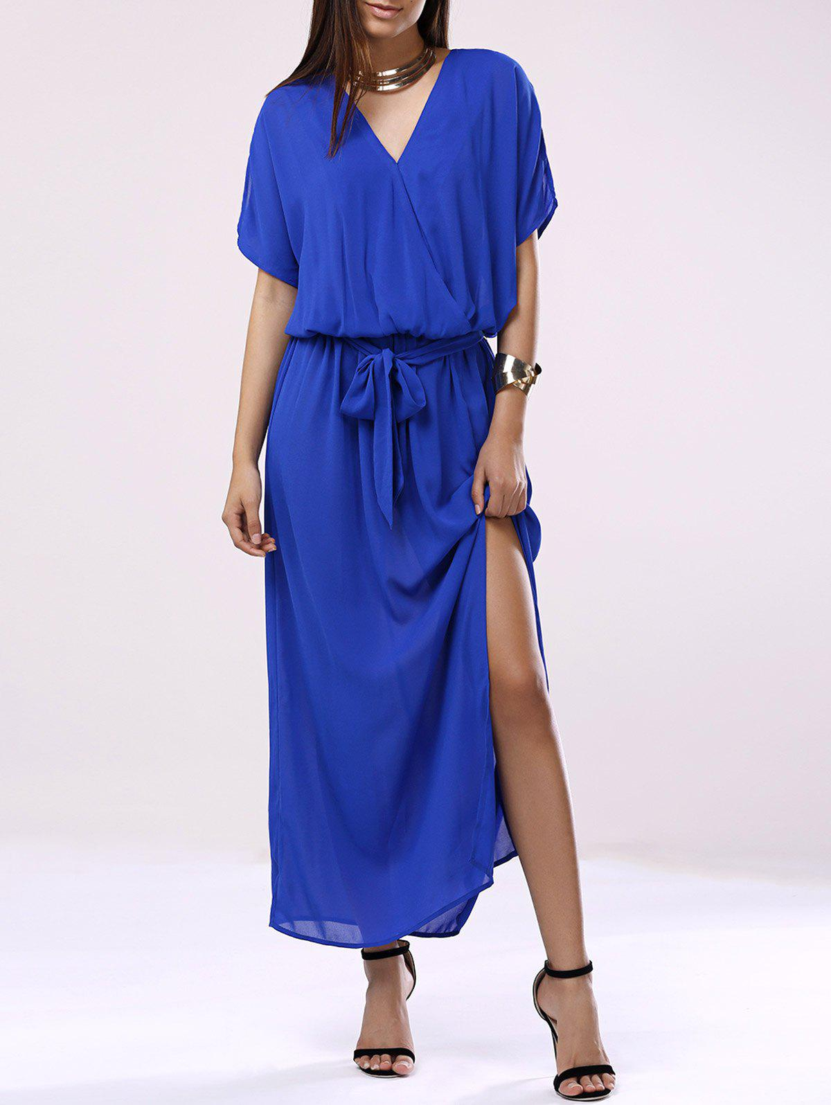 Elegant Women's V-Neck 3/4 Sleeve Chiffon Dress - DENIM BLUE XL