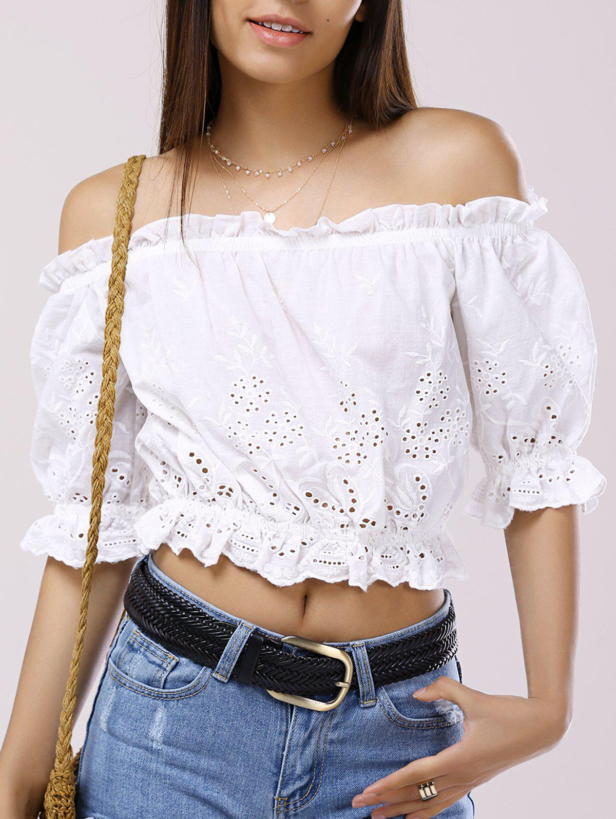 Off-The-Shoulder 3/4 Sleeve Crop Top - WHITE L
