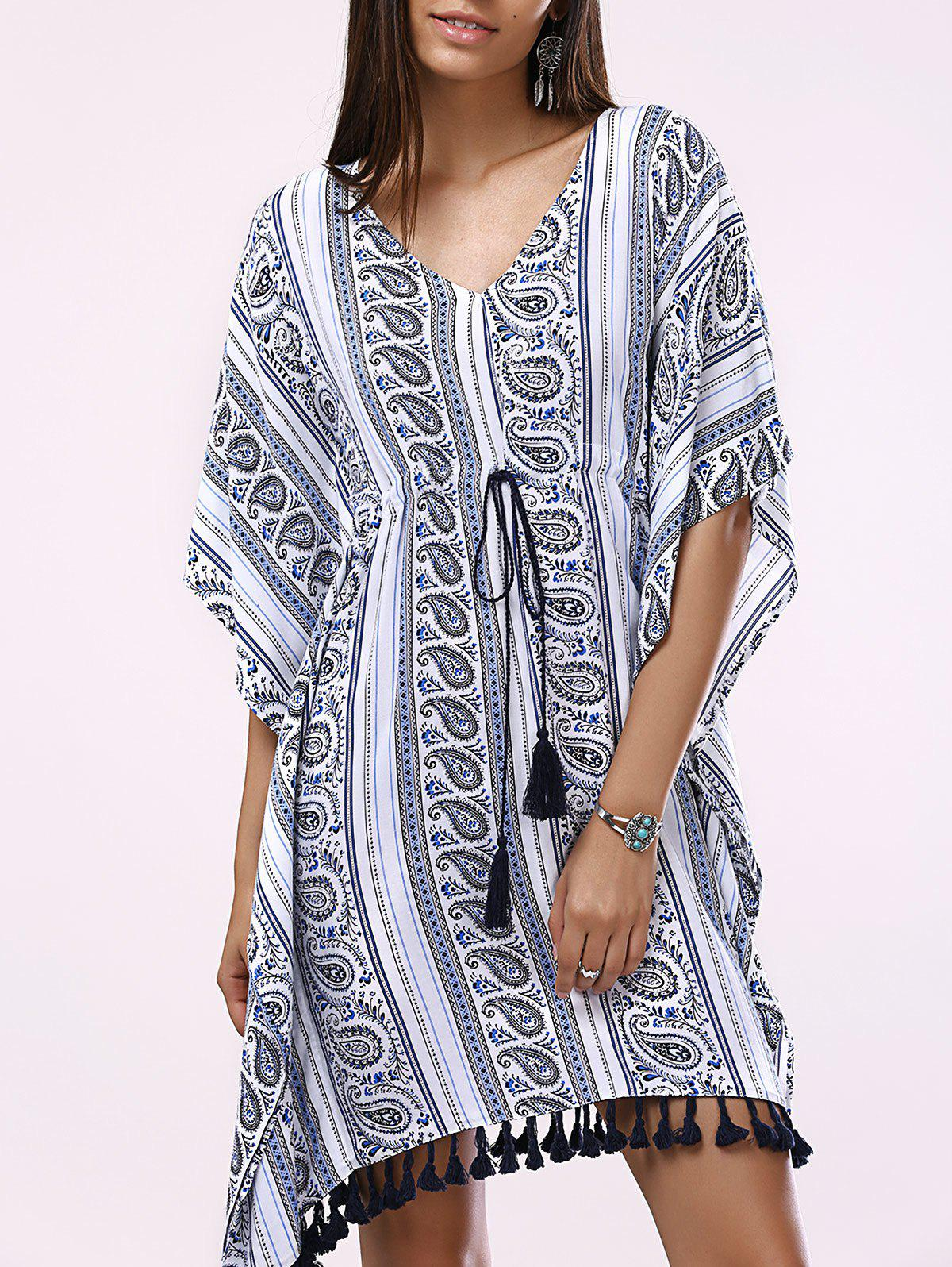 Fashionable Woman's Batwing V-Neck Drawstring Printing Dress - COLORMIX XL