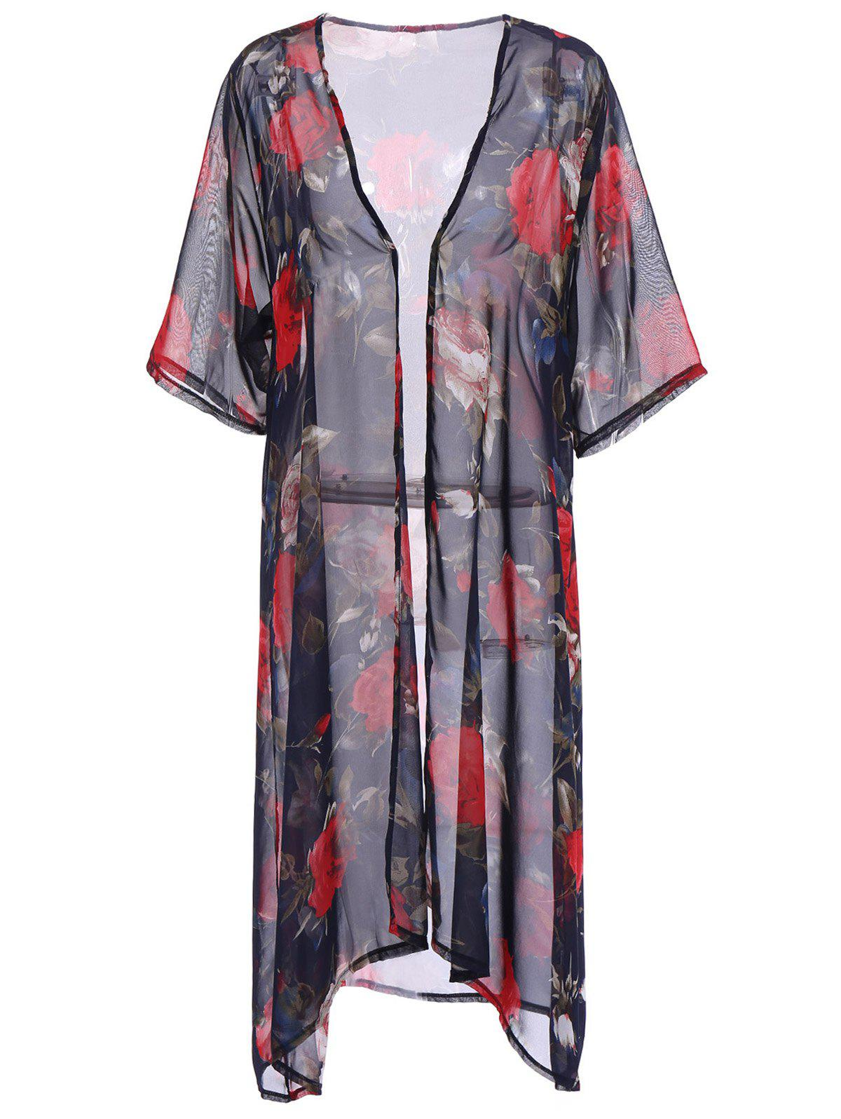 Stylish Women's Floral Print Loose-Fitting Cover-Up - DEEP BLUE ONE SIZE(FIT SIZE XS TO M)