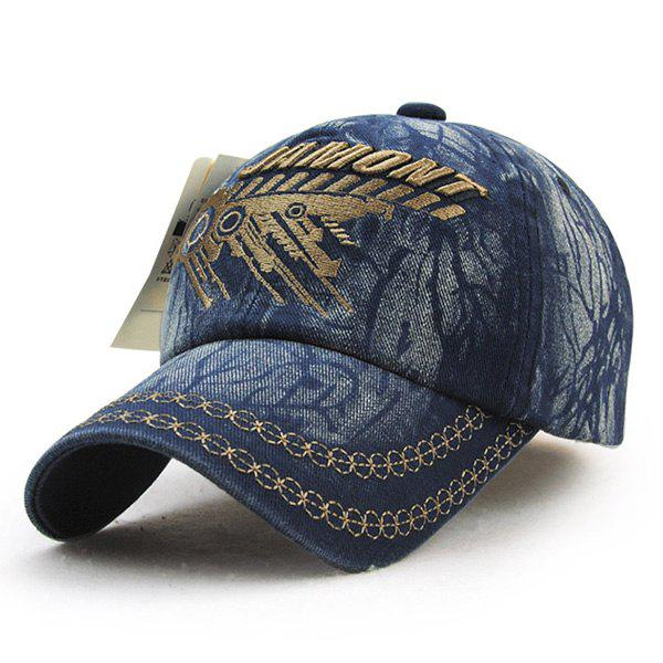 Fashion Embroidery Tree Branches Pattern Do Old Men's Summer Baseball Hat - BLUE