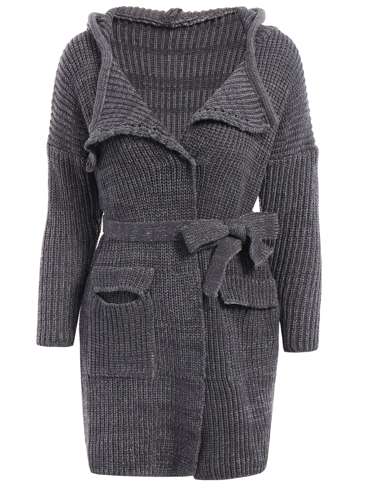 Stylish Hooded Long Sleeve Pocket Design Solid Color Women's Belted Cardigan - GRAY ONE SIZE(FIT SIZE XS TO M)