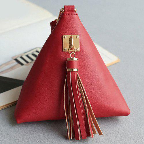 Vintage Tassel and Zip Design Women's Clutch Bag - RED