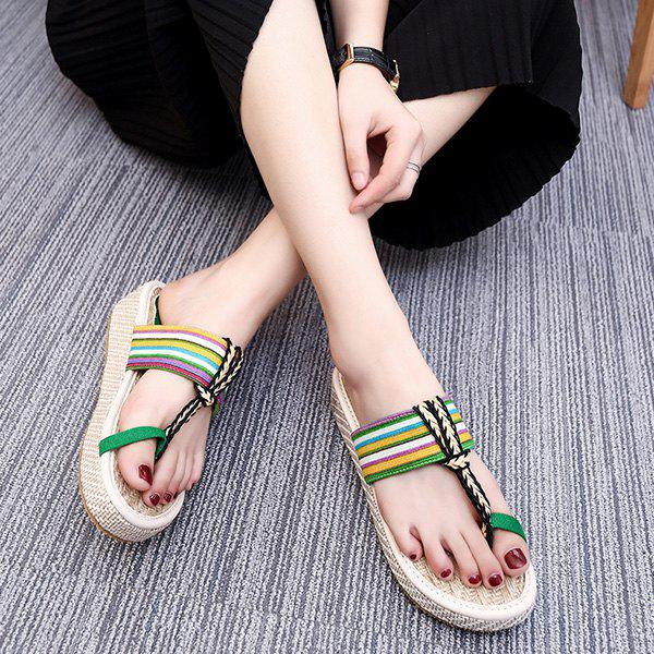 Ethnic Style Striped and Weaving Design Women's Slippers - GREEN 39