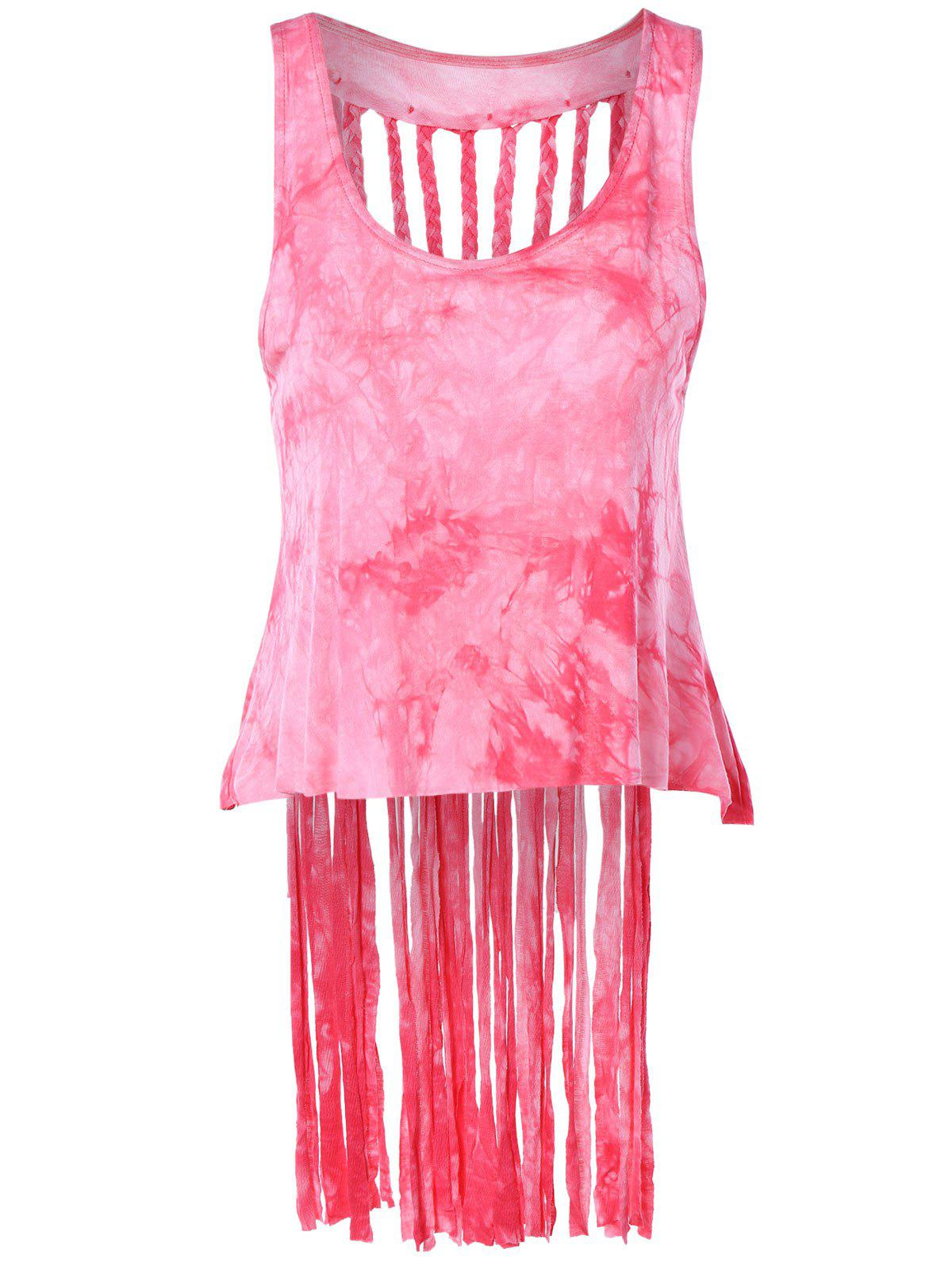 Stylish Women's Scoop Neck Weave Fringe Tank Top - ROSE ONE SIZE(FIT SIZE XS TO M)