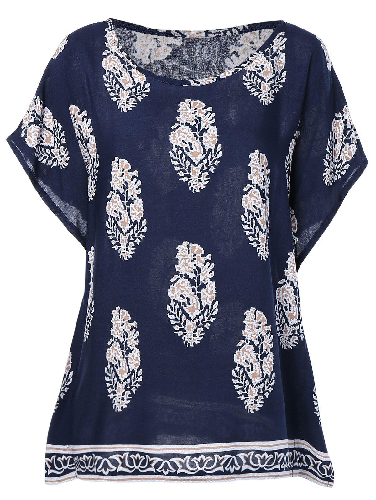 Ethnic Style Women's RoundNeck Print Short Sleeves Top - PURPLISH BLUE ONE SIZE(FIT SIZE XS TO M)