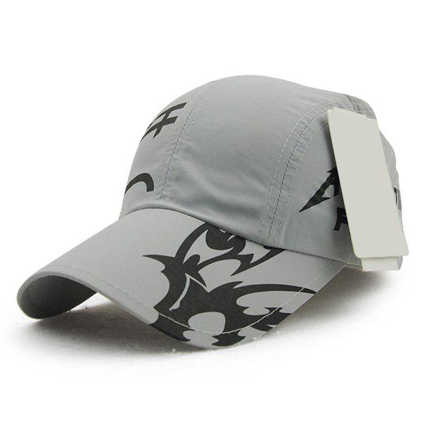 Fashion Letter Print Quick Dry Men's Outdoor Baseball Hat - GRAY
