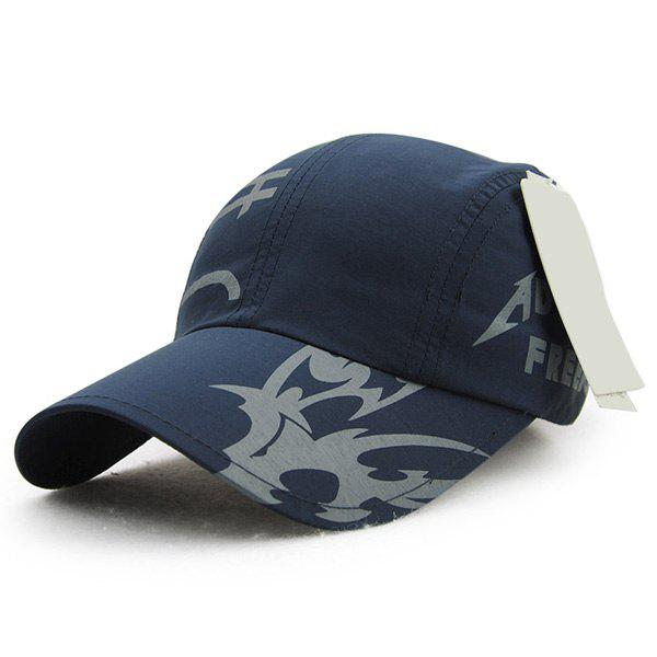 Fashion Letter Print Quick Dry Men's Outdoor Baseball Hat - DEEP BLUE
