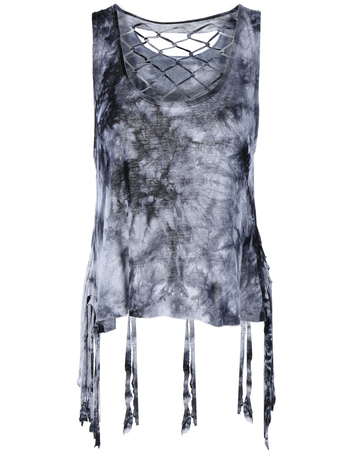 Fashionable Women's Scoop Neck Weave Fringe Tank Top - GRAY