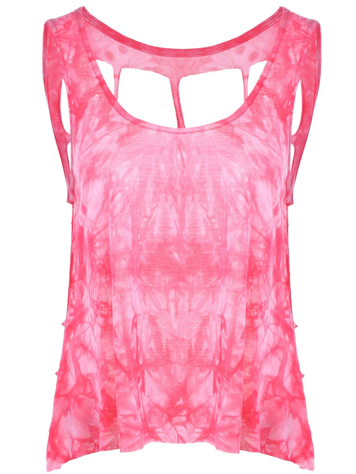 Stylish Women's ScoopNeck Tie-Dyed Tank Top - ROSE ONE SIZE(FIT SIZE XS TO M)