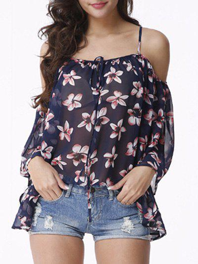 Attractive Women's Cold Shoulder Floral Print Chiffon Blouse - DEEP BLUE XL