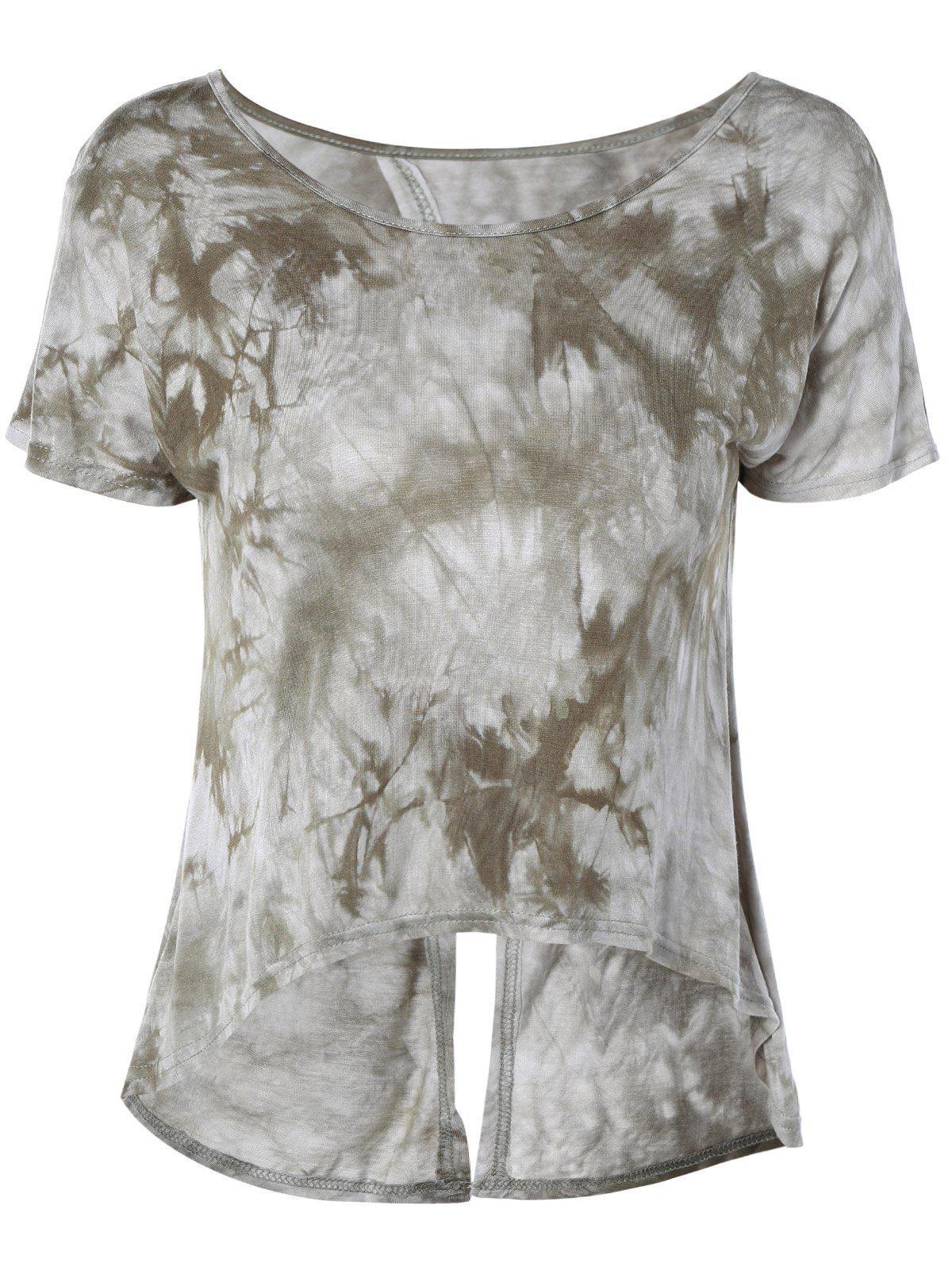 Stylish Women's Tie-Dyed ScoopNeck Short Sleeves Top - OLIVE GREEN ONE SIZE(FIT SIZE XS TO M)