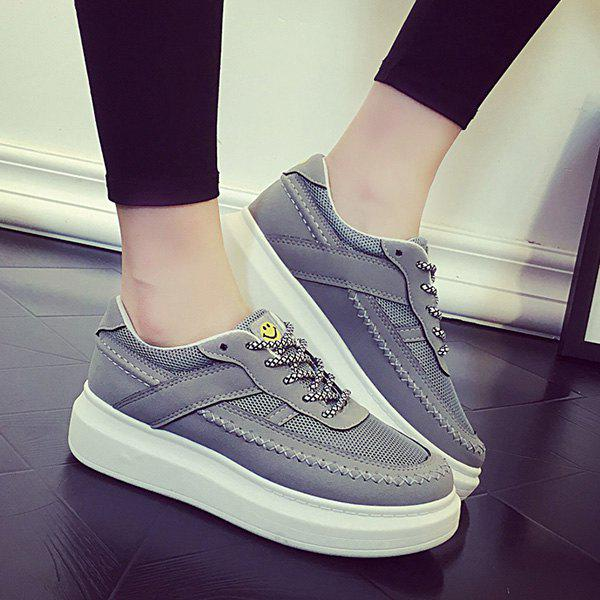Trendy Breathable and Stitching Design Women's Athletic Shoes - 38 GRAY