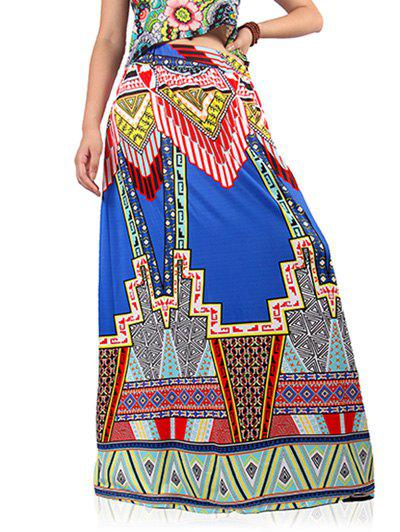 Ethnic High Waist Geometric Print Skirt For Women - COLORMIX S