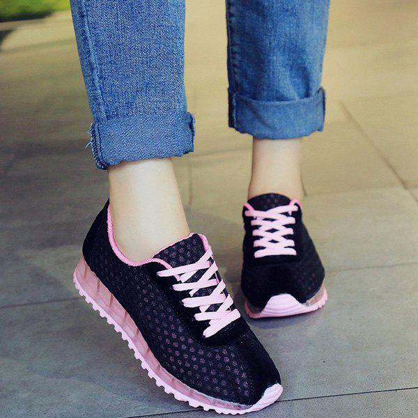 Stylish Tie Up and Mesh Design Women's Athletic Shoes - BLACK 39