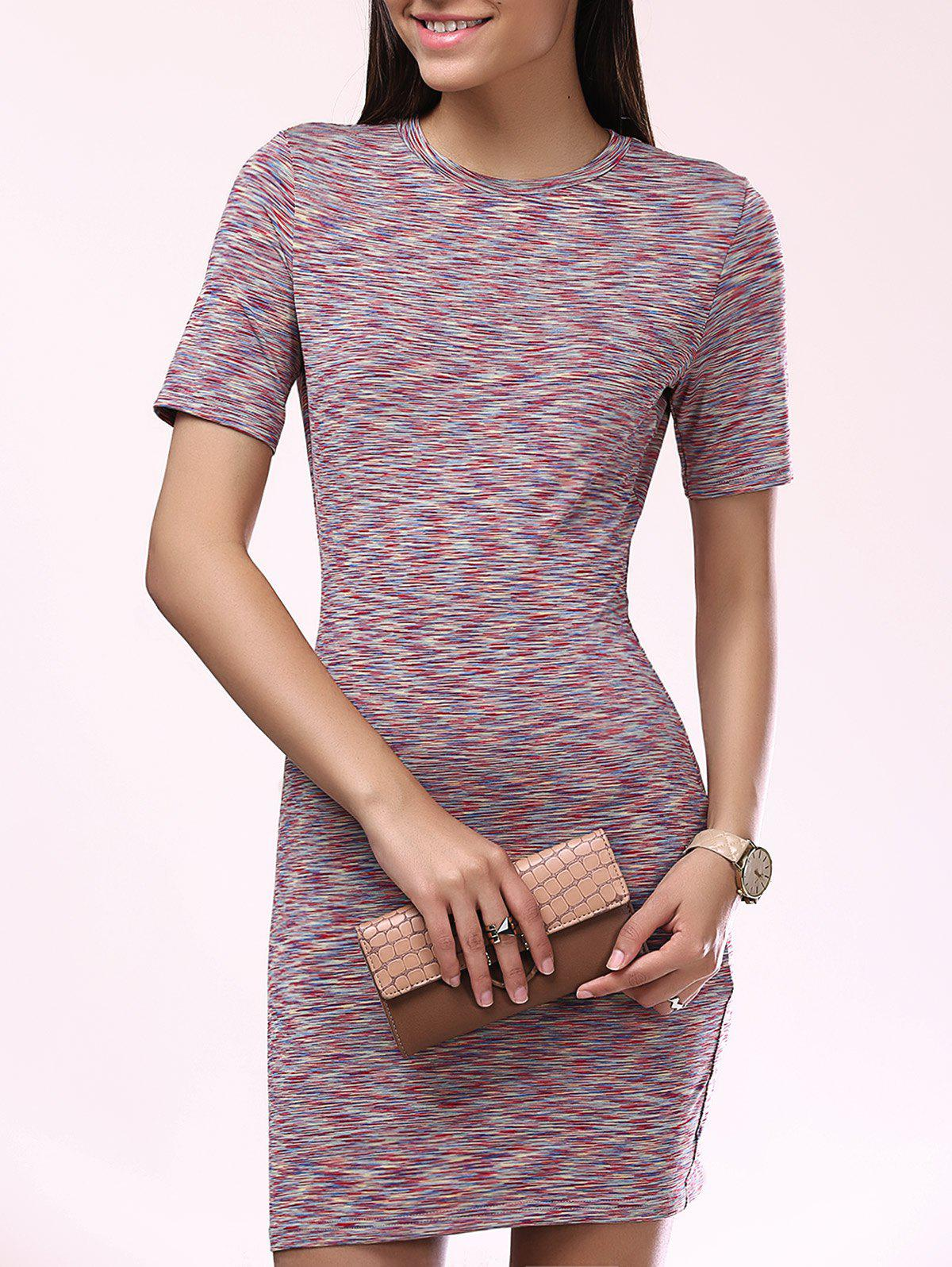 Fashionable Scoop Neck Slim Short Sleeves Dress For Women - L COLORMIX