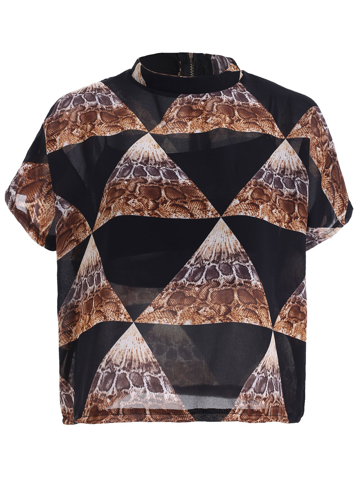 Retro Geometric Printed Chiffon Blouse For Women - BLACK ONE SIZE(FIT SIZE XS TO M)