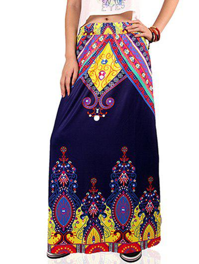 Ethnic Style High Waist Paisley Pattern Skirt For Women - DEEP BLUE M