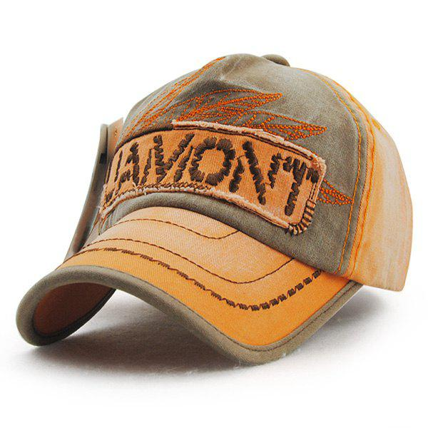 Fashion Letter Embroidery and Leaf Shape Sewing Thread Design Men's Outdoor Baseball Hat - ORANGE