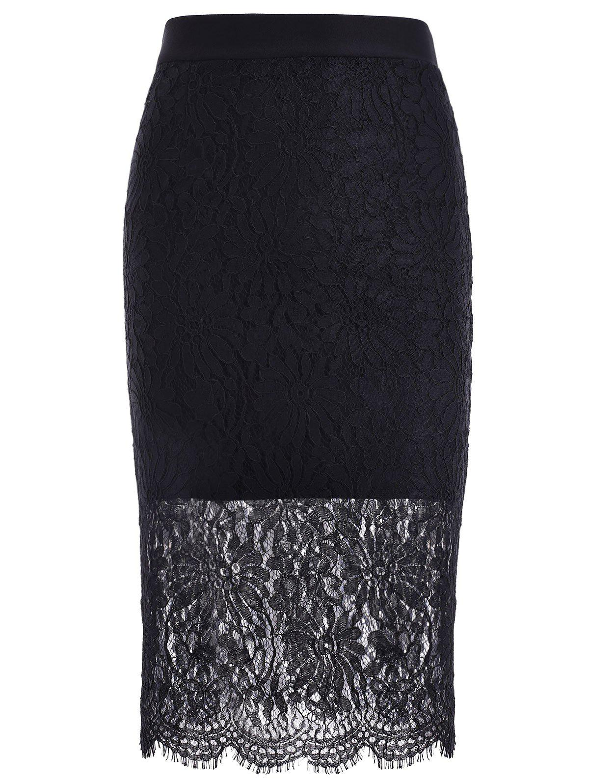 Trendy Lace Splicing Hollow Out Black Skinny Women's Skirt
