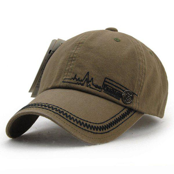 Fashion Electrocardiogram Embroidery Labelling Summer Men's Outdoor Baseball Hat - COFFEE