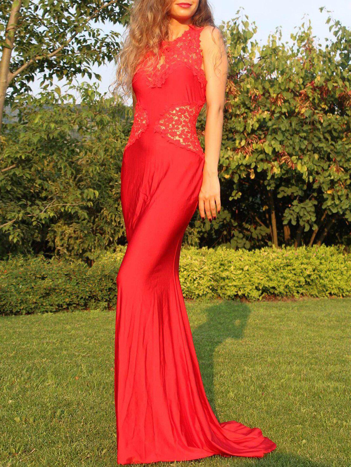 Lace Cut-Out Skinny Fishtail Dress For Women - RED M