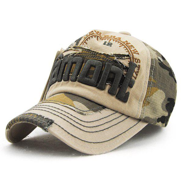 Fashion Letter Embroidery Camouflage Pattern Summer Men's Outdoor Baseball Hat - LIGHT KHAKI