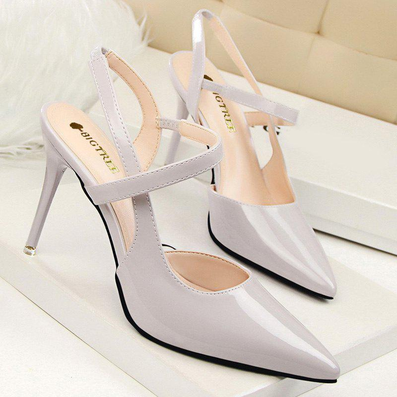 Chic Slingback and Cross Straps Design Women's Pumps - LIGHT GRAY 37