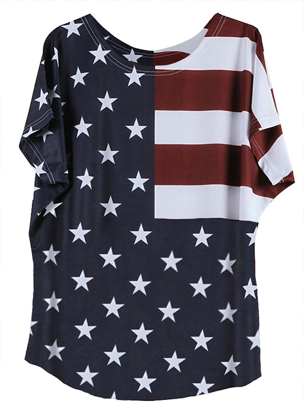 Round Neck Flag Pattern Short Sleeve T-Shirt - COLORMIX 2XL
