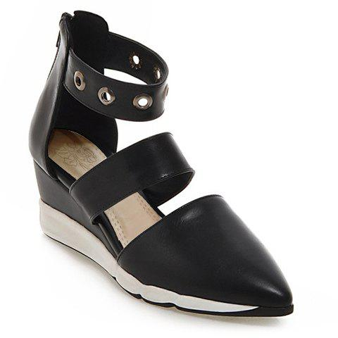 Fashionable Zipper and Pointed Toe Design Womens Wedge ShoesShoes<br><br><br>Size: 39<br>Color: BLACK