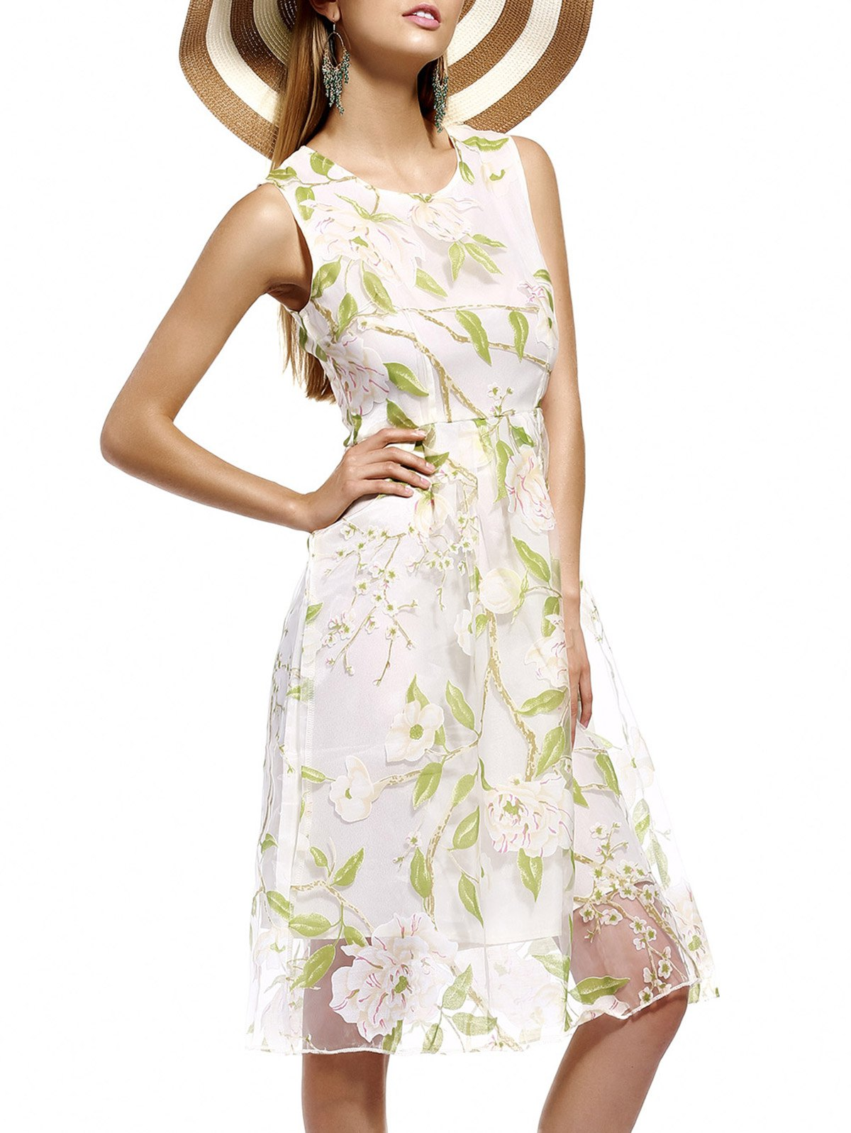 Refreshing Floral Print Tulle Overlay Women's Dress