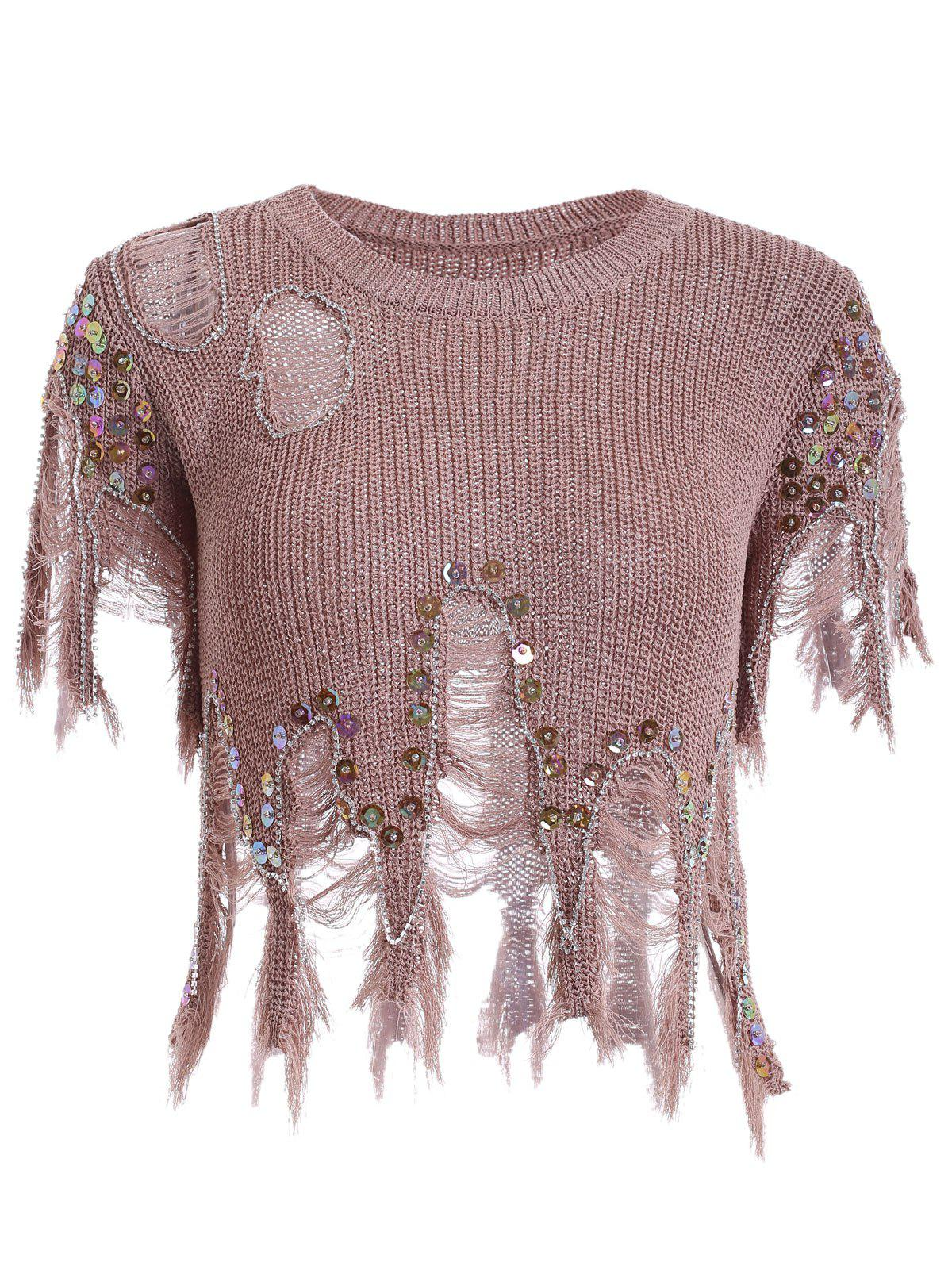 Women's Sequined Hole Design Asymmetric Pullover Sweater - RED BROWN ONE SIZE(FIT SIZE XS TO M)