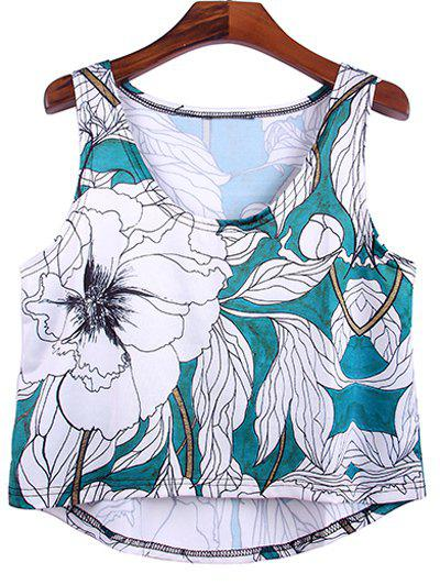 Trendy Women's Scoop Neck Floral Print High Low Tank Top - MARINE GREEN S