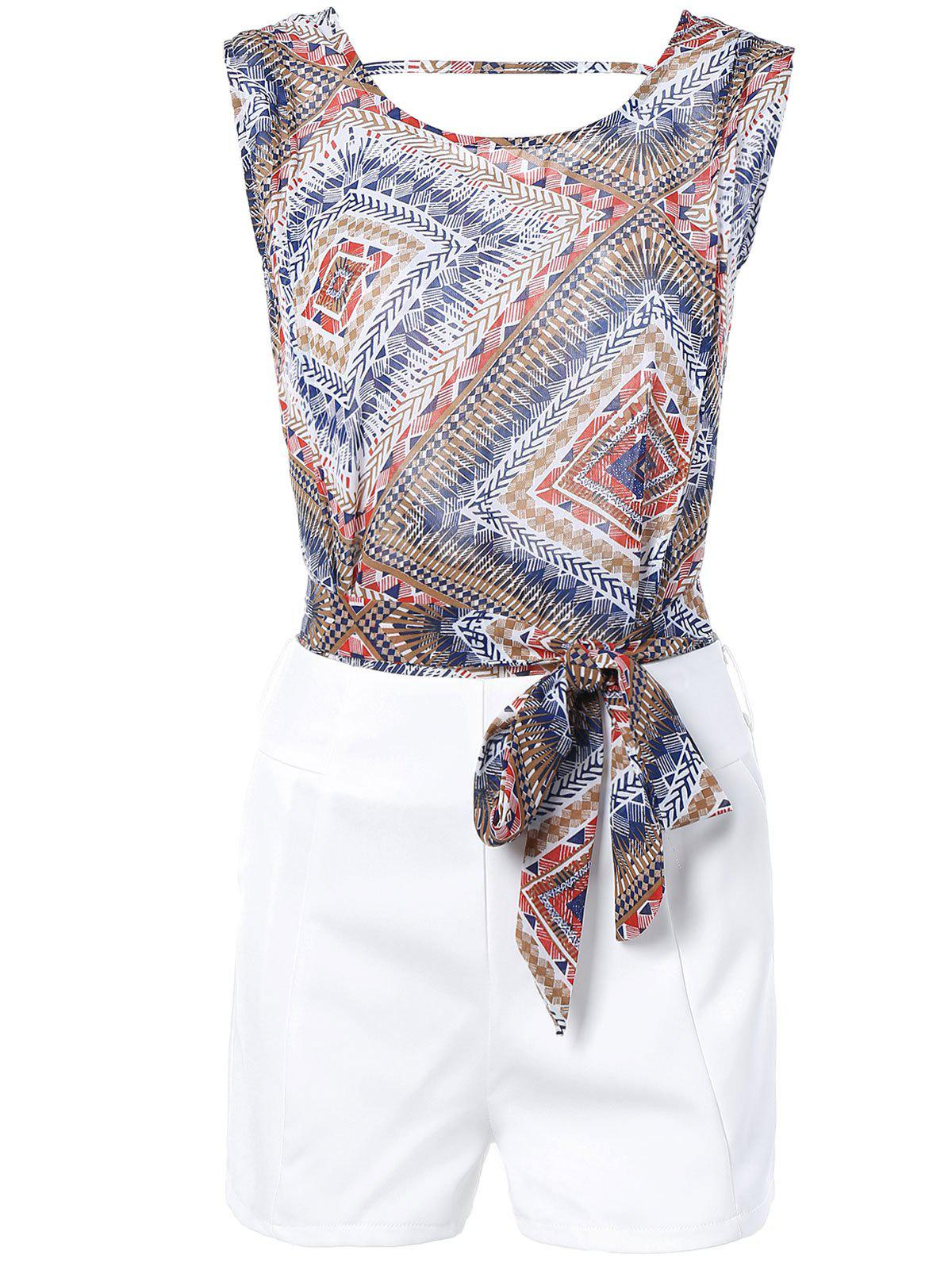 Geometric Print Tie Front Sleeveless Blouse + White Shorts Twinset For Women - COLORMIX XL