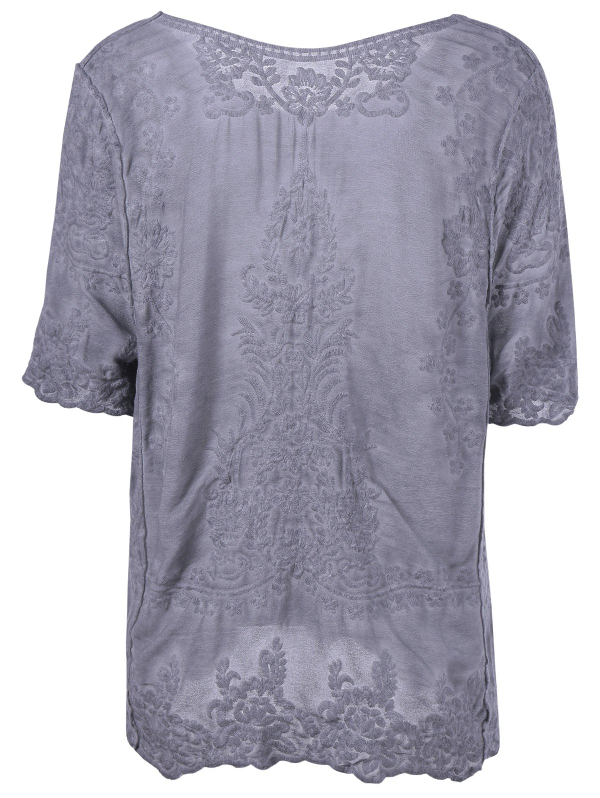 Stylish Women's Scoop Neck Crochet Short Sleeves Blouse - DEEP GRAY ONE SIZE(FIT SIZE XS TO M)
