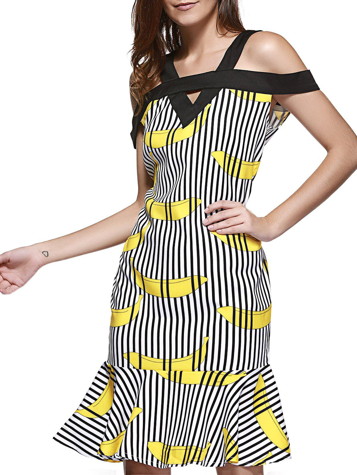 Refreshing Print Pleated Mermaid Dress For Women - YELLOW XL