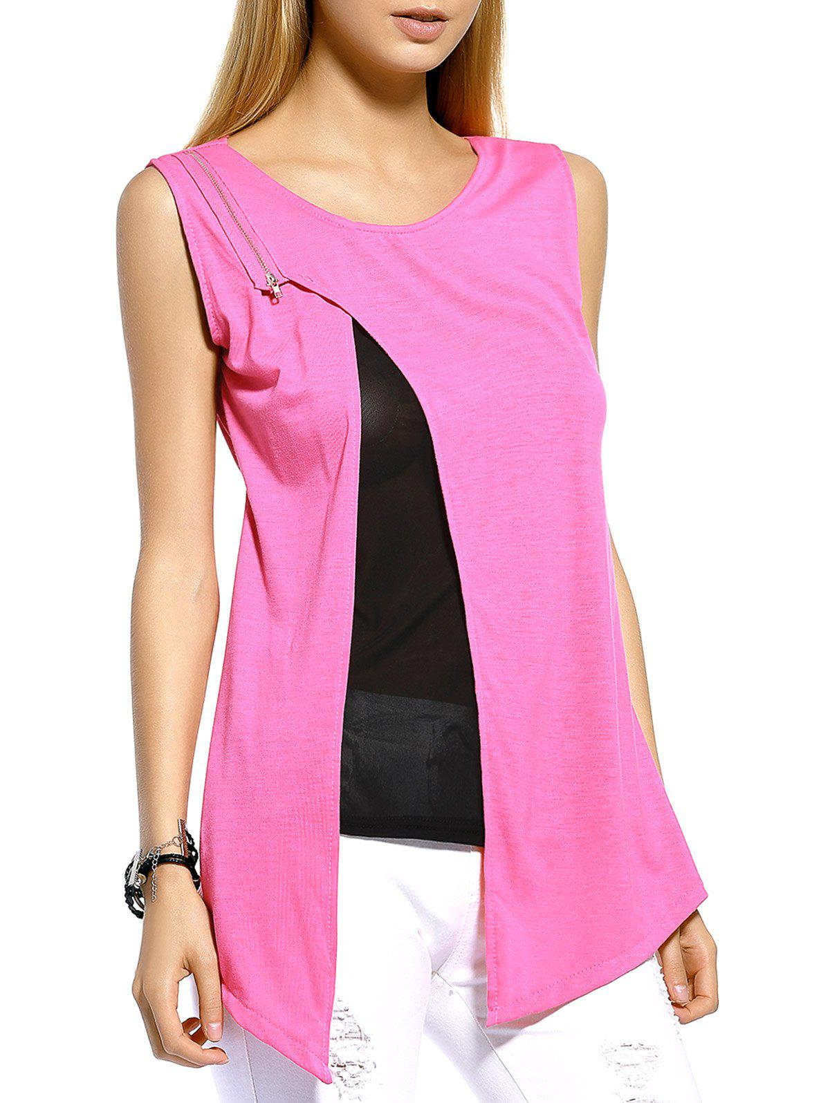 Stylish Zippered Split Front Women's Tank Top - XL PINK